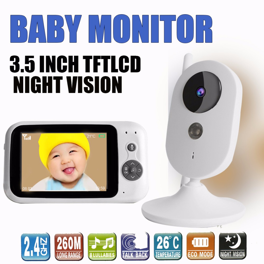 303A 3.5 インチワイヤレスビデオカラーベビーモニター赤ちゃんの乳母防犯カメラのナイトビジョン監視ボーイズガールズベビールーム  グループ上の セキュリティ & プロテクション からの ベビーモニター の中 2
