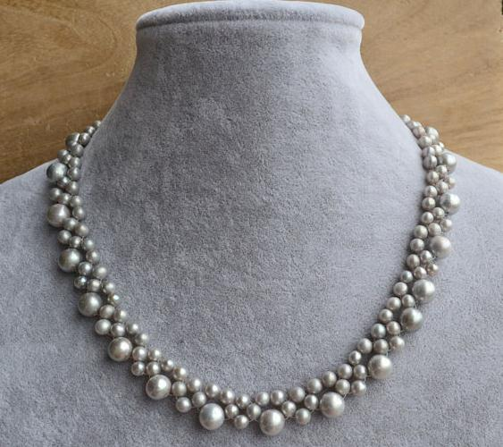 Real Pearl Jewellery,Statement Necklace,16 inches AA 5-9MM Gray Color Freshwater Pearl Necklace,Bridesmaid Gift,Women Necklace xishixiu 5 16 inches