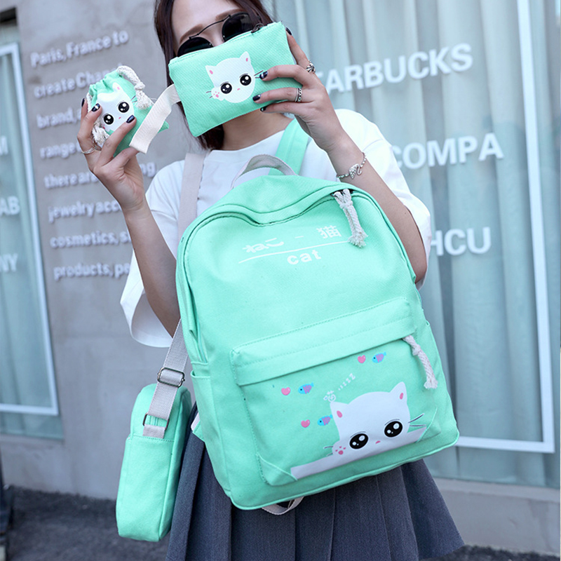 Lemon Kitten 4 Set Cute Japan Cat Canvas Women Backpack Rucksack Lovely Backpack Female Student Girl Mochila Bagpack Pack Design