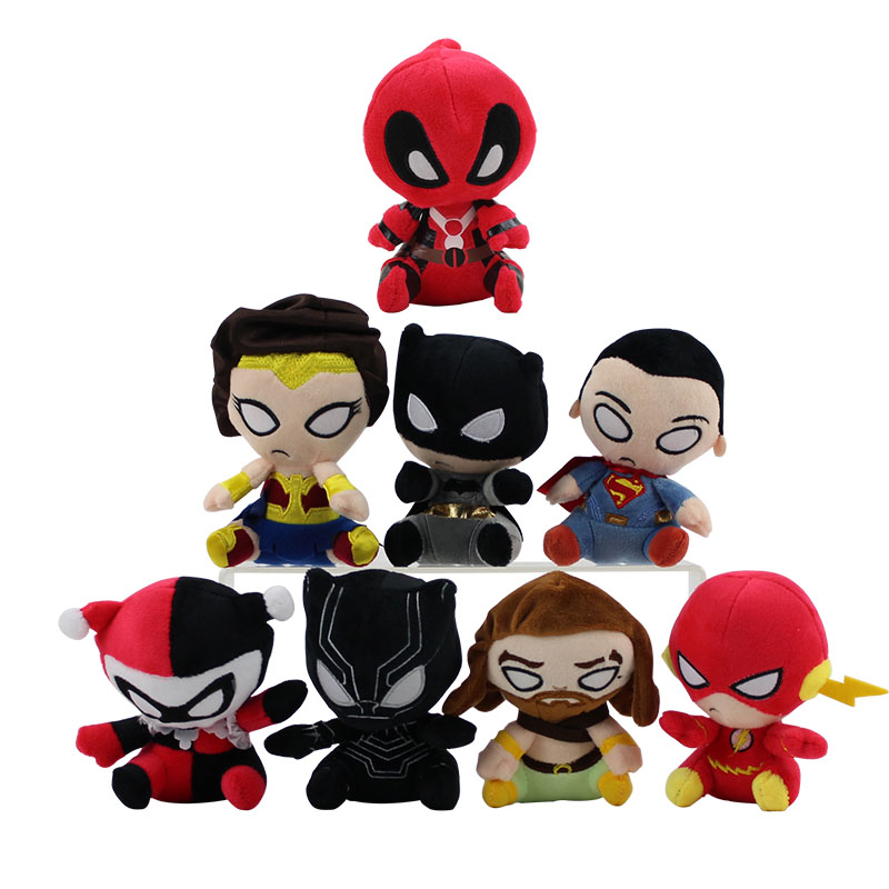 12-14cm Justice League Plush Cartoon Doll Superman Batman Wonder Woman Aquaman The Flash Black Panther Joker Soft Stuffed Doll