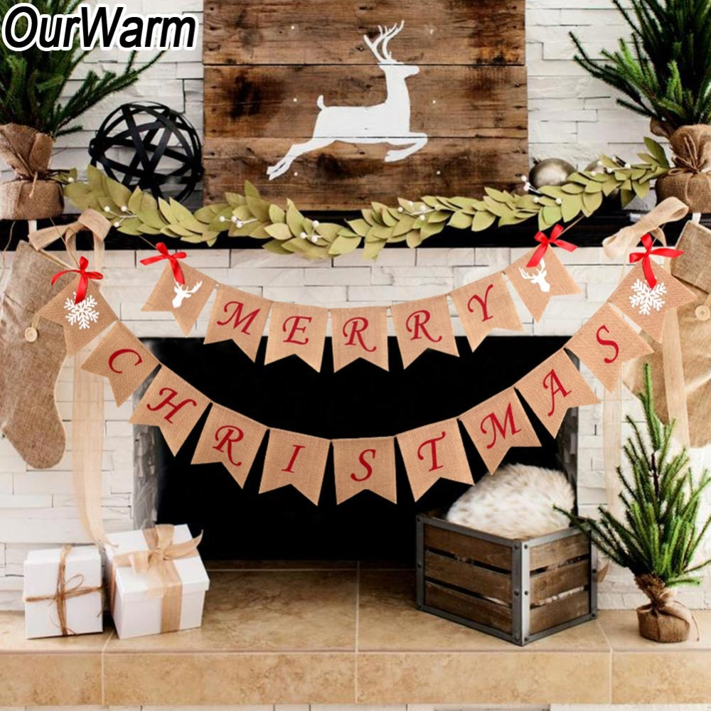 Ourwarm 252cm Burlap Banner Vintage Christmas Decorations For Home