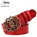 [Dwts] piel de vaca cuero genuino de las mujeres de la vendimia floral de la moda curva hebilla cinturones para las mujeres de calidad superior accesorio trato directo