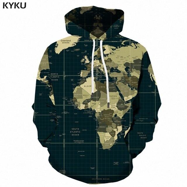 KYKU World Map Hoo s Women Retro La s Hoody Harajuku Casual
