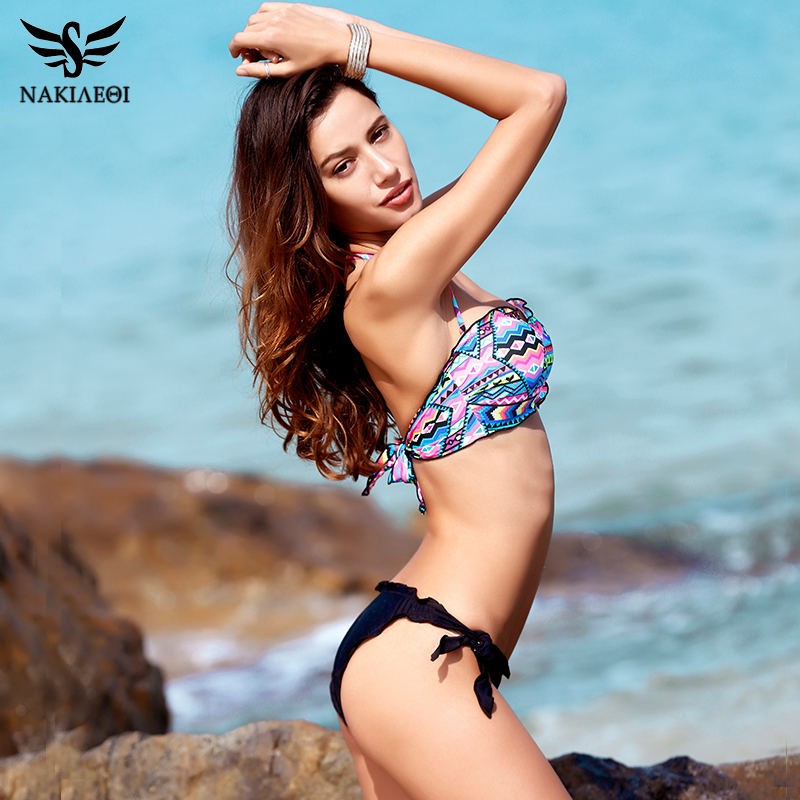 NAKIAEOI 2018 New Sexy Bandeau Bikini Women Swimwear Push Up Swimsuit Female Brazilian Bikini Set Printed Floral Bathing Suits 1