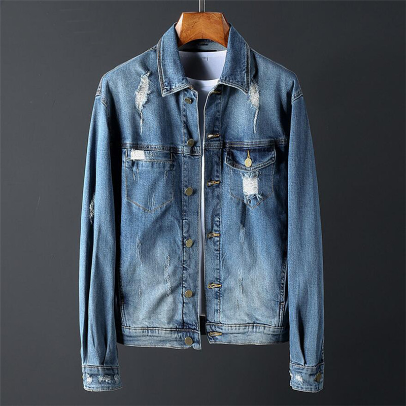 Vintage Jackets Men Casual Jeans Jackets Men Hole Street Slim Fit Jacket Male Single Breasted Outwear Plus Size 3XL A542