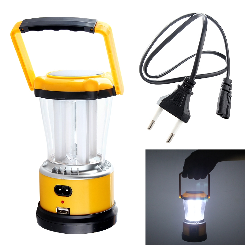 Hot Selling Portable Yellow Solar Rechargeable 3W 4 LED Lantern Camping Light Tent Lamp