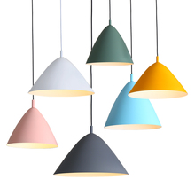 Nordic American aluminum LED pendant light personality decoration lighting Foyer bedroom restaurant macaron modern simple