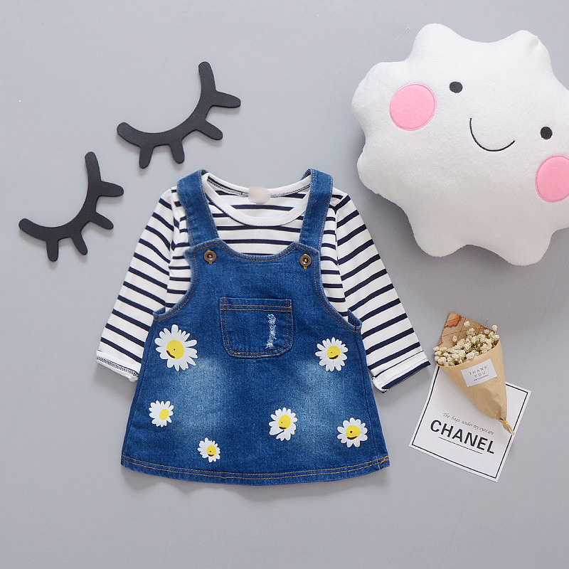 5d35130357704 2017 New Arrival Summer Spring Baby Girls Clothing Sets Long Sleeve T  shirts+Overall Jeans Dress Kids Children Clothing-in Dresses from Mother &  Kids ...
