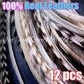 """Бесплатная Доставка 12 шт. Горячая 6-12 """"реальные волос перья волос оптом натуральный цвет петуха гризли перо волос перо наращивание волос"""