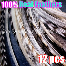 "12PCS 6""-12"" Grizzly Ombre Real Hair Rooster Feathers Hair Extensions Accessory for Styling Micro Loop Ring Hair Extension Beads(China)"
