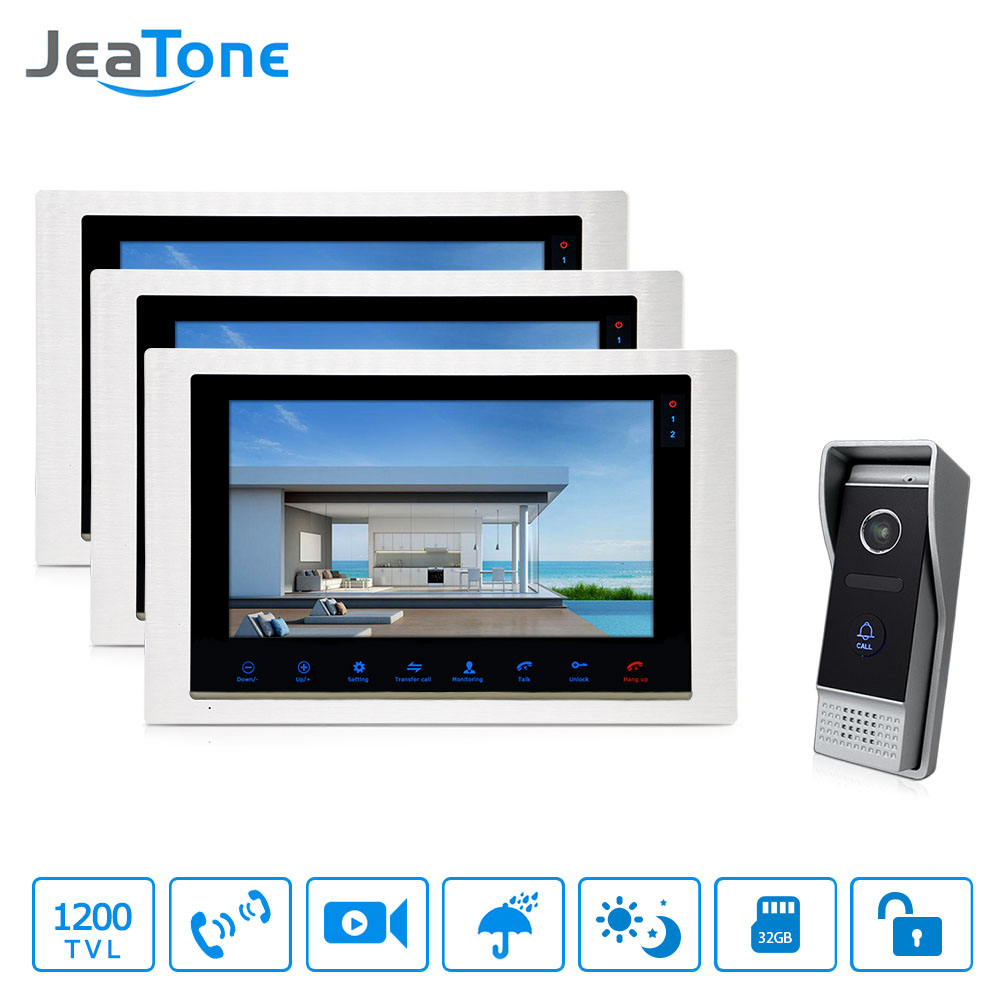 JeaTone 10'' Wired Video Door Phone Monitor System 3&1Better Evening Viewing Outdoor Camera Home Intercom Apartment jeatone 10 tft wired door phone doorbell intercom monitor 2 8mm lens 1200tvl camera 1v1 kit for private house free warranty