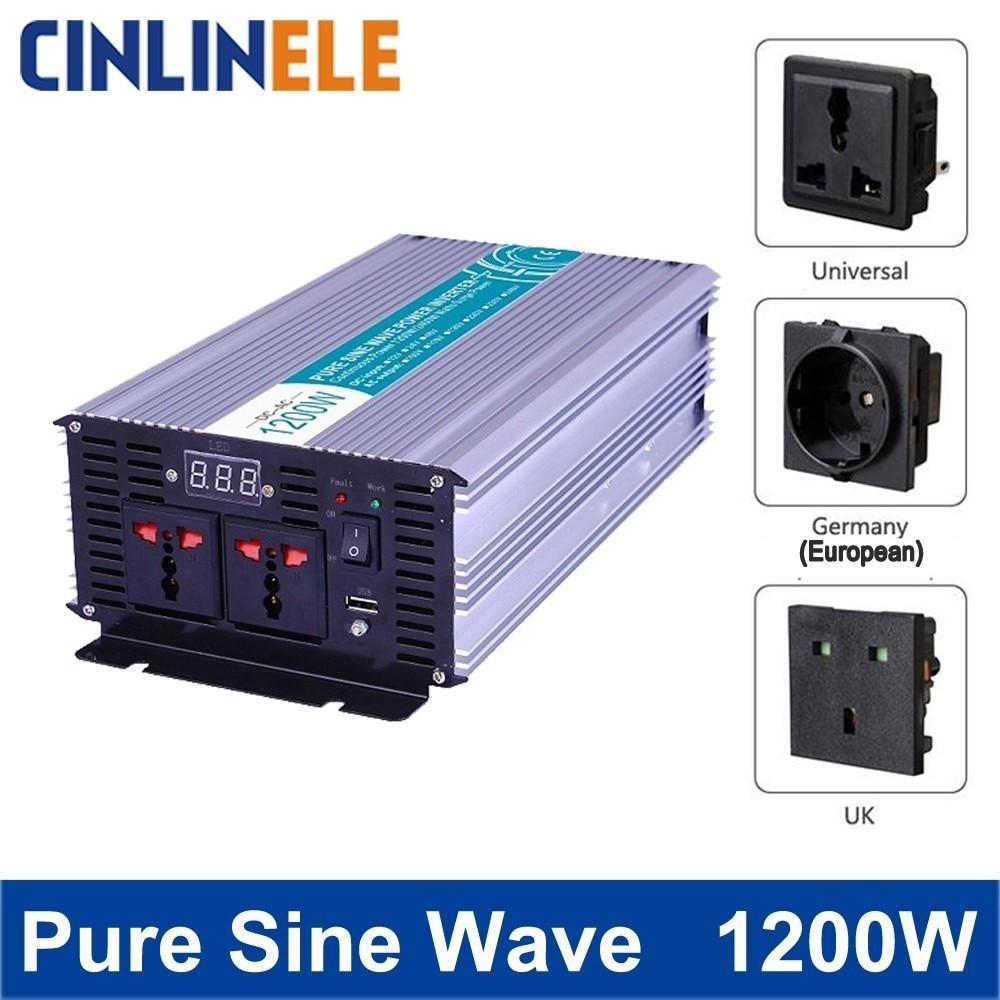 цена на Smart Pure Sine Wave Inverter 1200W CLP2400A DC 12V 24V 48V to AC 110V 220V Smart Series Solar Power 1200W Surge Power 2400W