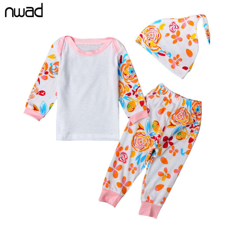 3Pcs/Set Baby Girl Clothes 2017 Spring Autumn Flower Print Clothing Suit For Toddler Girls Clothes Set Infant Clothing FF274