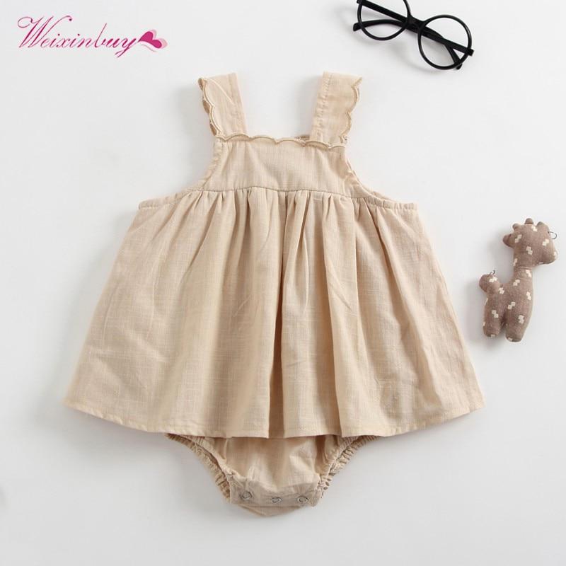 WEIXINBUY Toddle Newborn Baby Girl Romper Dress Mini Pure Cotton Vestidos Girl Swing Sling Dresses day dress