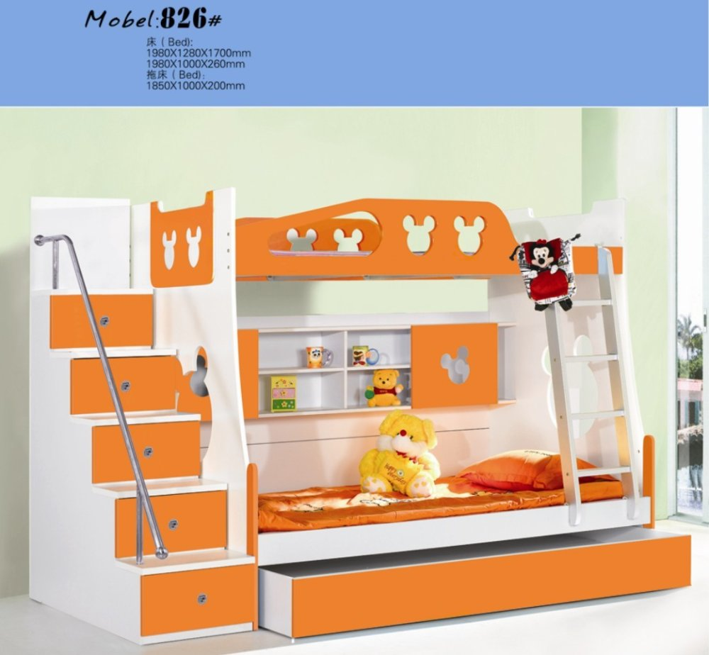 MDF Panels Children Bed Full New Bunk Bed With Stairs Orange Colour In Children  Beds From Furniture On Aliexpress.com | Alibaba Group