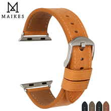 MAIKES Genuine Leather Watch Accessories For Apple Watch Band 38mm & Apple Watch Bands 42mm iwatch 3 2 1 Orange Strap Bracelets