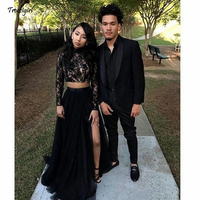 Prom Dresses 2019 Formal Evening Party Pageant Gowns African Two Pieces Long Sleeve High Neck Dubai Arbic Cheap Black Girl