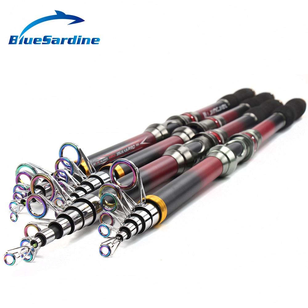 BlueSardine New Telescopic Fishing Rod Spinning Sea Rod Hard Carbon Fishing Tackle 2.1M 2.4M 2.7M 3M 3.6M