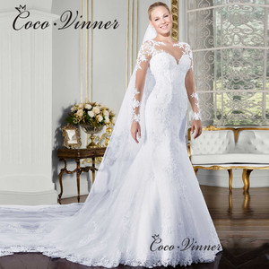 Image 2 - Sheer V neck Long Sleeve Mermaid Wedding Dress 2020 See Through Illusion Back White Wedding Gowns Lace Appliques Bride W0058