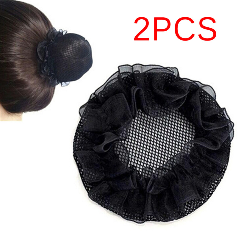 2Pcs Women Ballet Dance Skating Snoods Hair Net Bun Cover Black