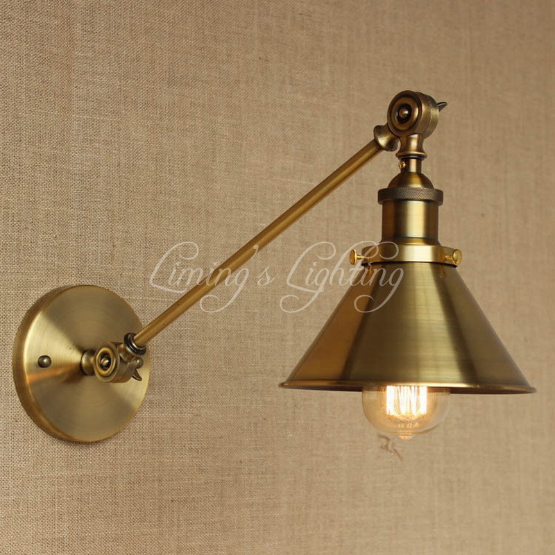 Antique American Country Arm Wall Lamp Industrial Vintage Long Swing Arm Wall Lamp Bedside Bedroom Illumination Sconce nordic american retro elegant atmosphere l25cm arm double two swing arm decorative wall sconce vintage black lotus leaf lid lamp