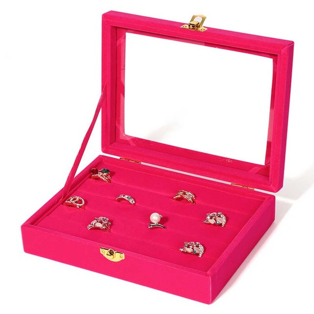 Small Ring Jewelry Box Glass Cover Storage Stud Earring Wheel
