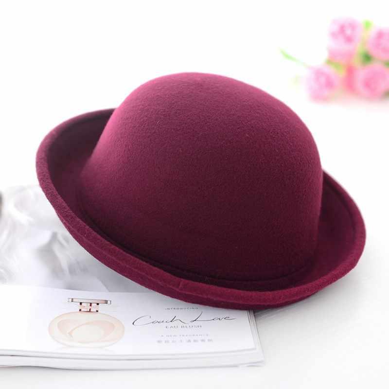 ผู้หญิงผู้ชาย Vintage Vintage Vintage Vintage Bowler หมวก Roll Brim Derby Fedora โดมหมวกชายหาดกลางแจ้ง