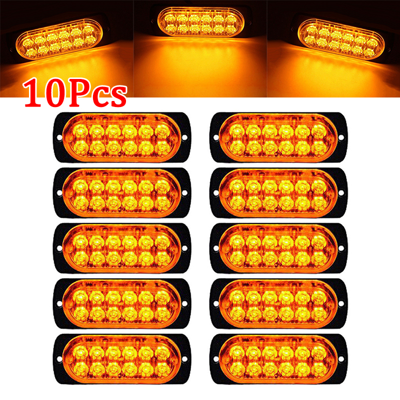 10pcs Car 12-LED Amber Urgent Warning Light Kit Bar 12V 6500K Truck Urgent Warning Fog Working Light Lamp 6500K