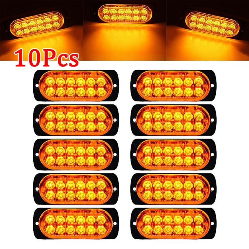 10pcs Car 12-LED Amber Urgent Warning Light Kit Bar 12V 6500K Truck Urgent Warning Fog Working Light Lamp 6500K