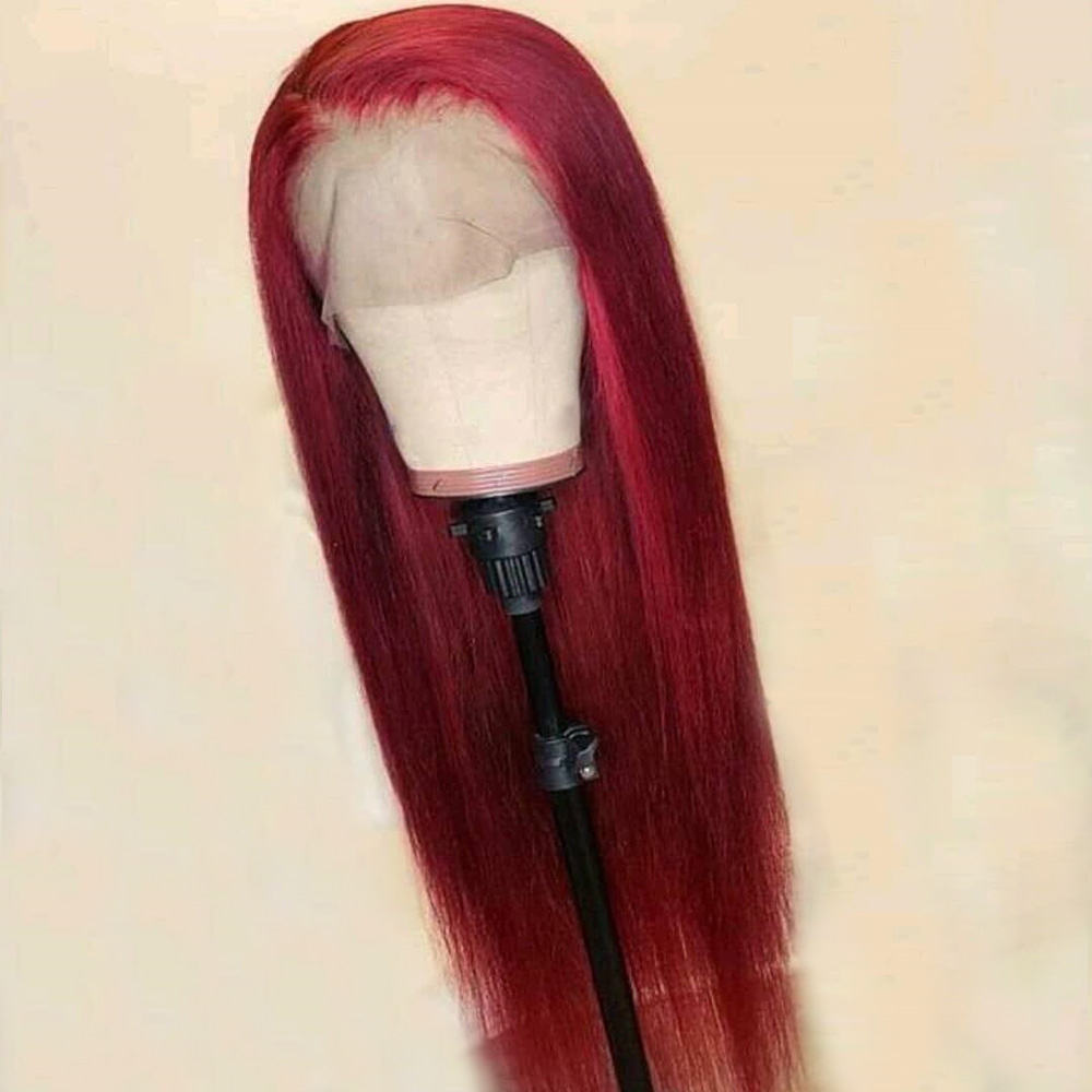 Red Straight Lace Front Human Hair Wig 13X6 Deep Part Preplucked Brazilian Remy Burgundy Wigs Full 150% Density For Black Women(China)
