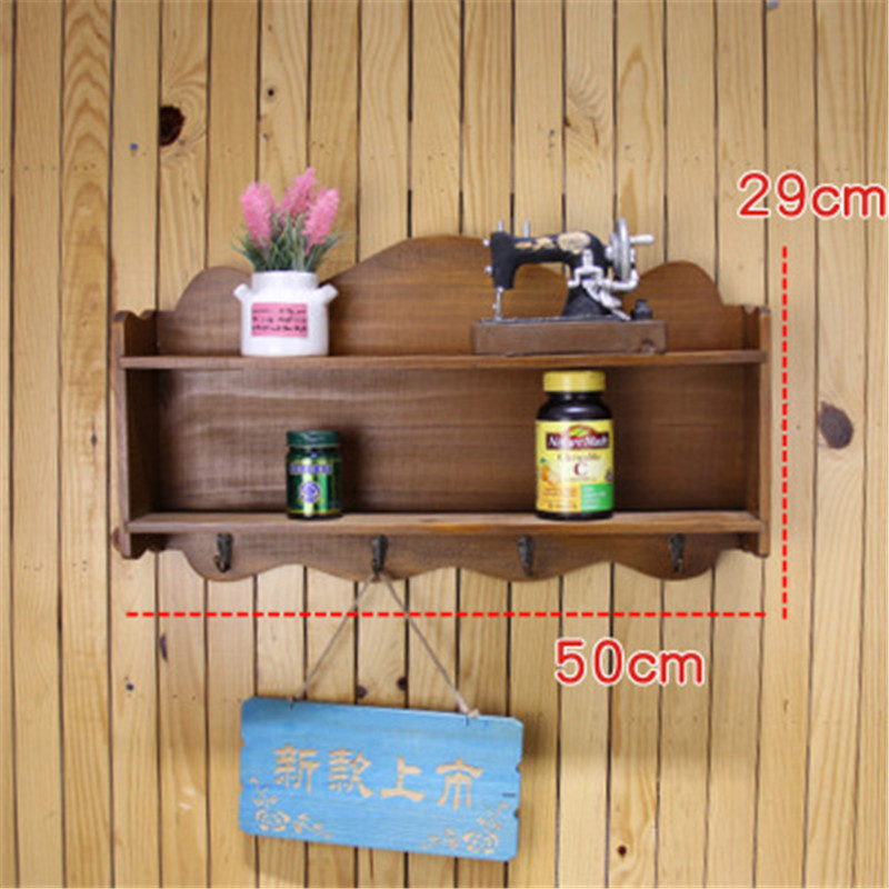 20 Inch Large Wall Rack Solid Wood Wall Shelf Home Wooden Box Bathroom Shelf For kitchen Shelves Vintage Hooks Storage Holder shelf