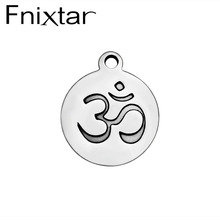 Fnixtar Fashion DIY Jewelry OM Charm Pendant Symbol High Polish Pendant Stainless Steel Charms for Necklace Making 50Piece/Lot