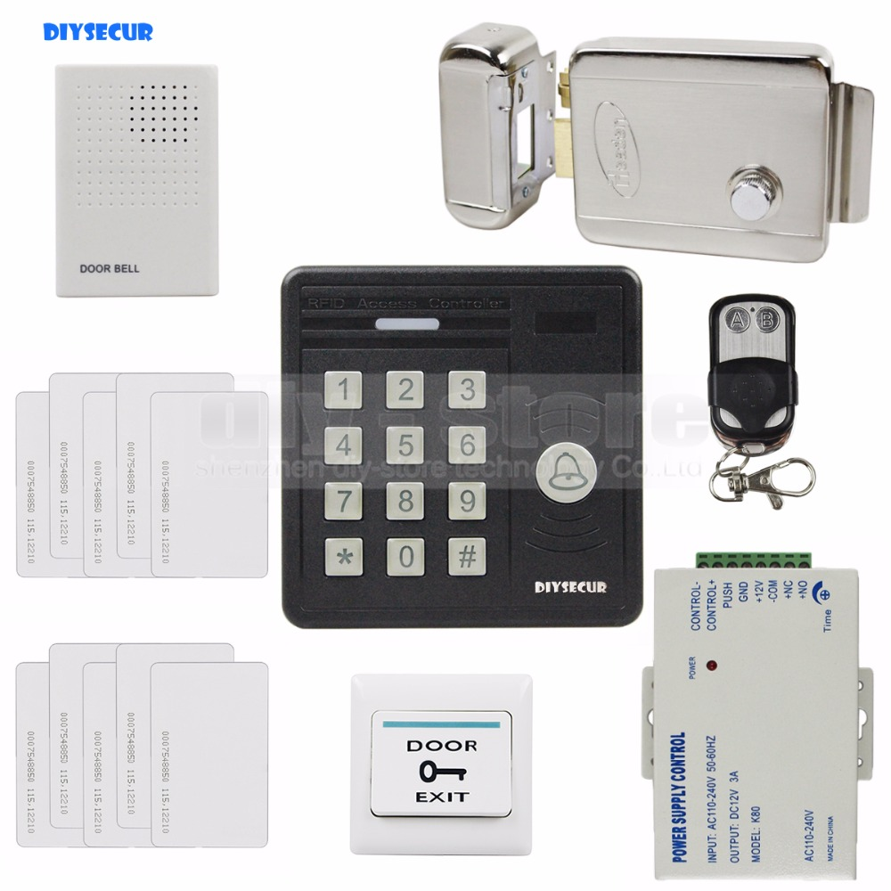 DIYSECUR Waterproof 125KHz Rfid ID Card Reader Password Keypad Door Bell Electronic Lock Door Access Control Security Kit KS159 good quality smart rfid card door access control reader touch waterproof keypad 125khz id card single door access controller