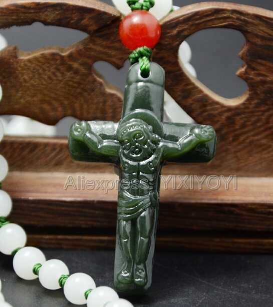 Красивый натуральный темно-зеленый нефритовый нефрит резной Амулет Крест Иисуса счастливый кулон + Бесплатные бусы ожерелье сертификат ювелирные изделия