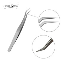 2017 New 5 pcs Eye Lashes Eyelash Extension Tweezers Curved Nail Art False Fake Nippers Pointed Clip Nail Straight Curve Tweezer
