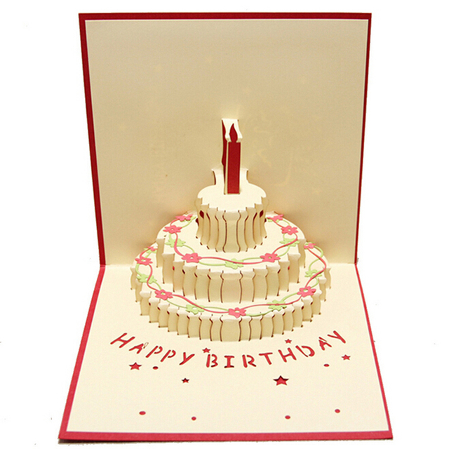 10 pieceslotCreative Birthday Cake Small Cartoon Greeting Card