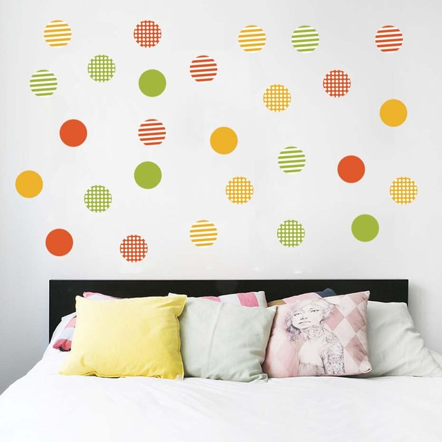 multi color confetti polka dots circles wall stickers rain bow