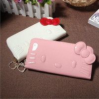 Hello Kitty Long Famous Brand Designer Purse Luxury Magic PU Female Wallet Women Leather Wallets For