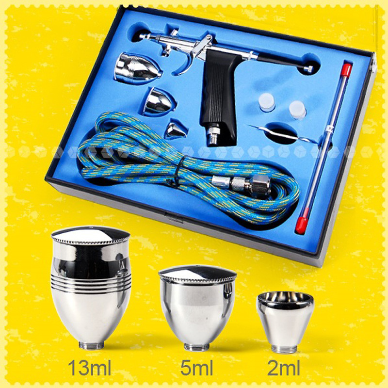 Spray Gun Double Action Pistol Trigger Airbrush Set With Tips 3 Cups 0 2 0 3