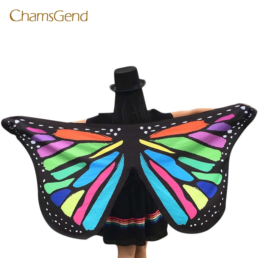 Chamsgend Coolbeener Drop Ship Soft Fabric Butterfly Wings Fairy Ladies Nymph Pixie Costume Accessory For Cosplay Party feb21