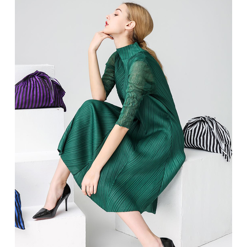 Changpleat 2019 Spring Summer New Women  Dresses Miyak Pleated Fashion Turtleneck Loose Large Size Solid Big elastic Dress Tide