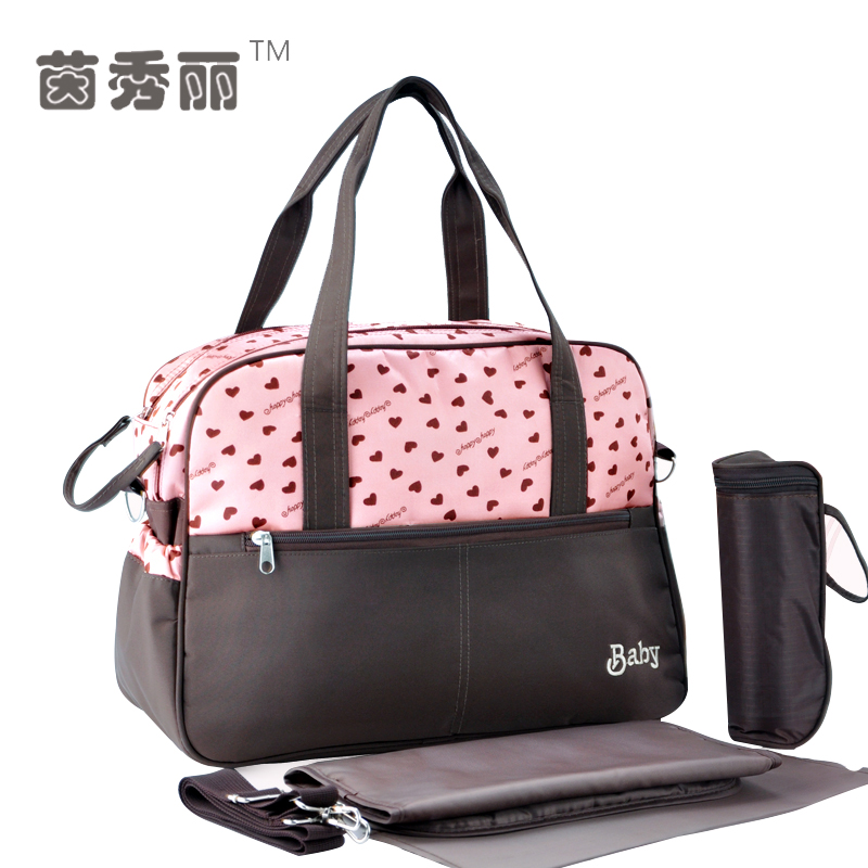 Love Dot Printing Baby Diaper Bags Multifunctional Mummy Big Handbag Baby Nappy Stroller Bag Shoulder Messenger Maternity Bags new arrivalbebear diaper bag dot baby bag water proof maternity bag multifunctional bolsa maternidade messenger bag