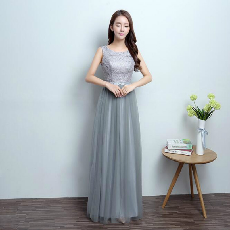U-SWEAR 2019 New Arrival   Bridesmaids     Dresses   Elegant O-Neck Sleeveless Lace Bow Sequined A-Line Slim Vestido De Festa Longo
