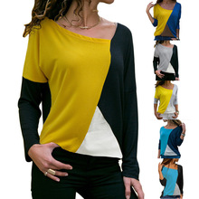 S-2XL women o neck long sleeve t shirt patchwork striped autumn spring casual tops tshirt