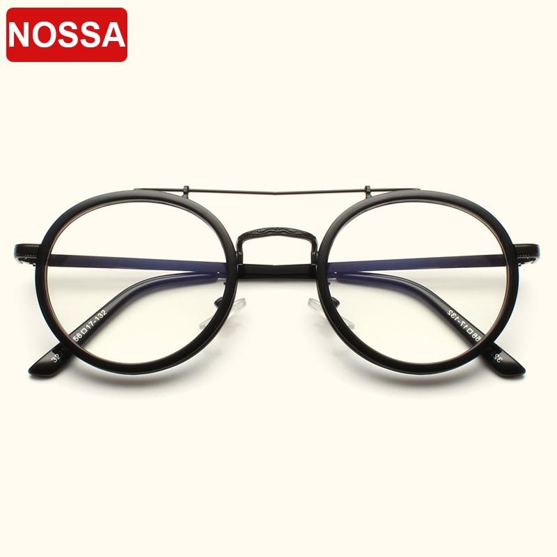 NOSSA Vintage Round Glasses Frames Women Men Classic Optical Eyeglasses Clear Lens Retro Spectacles Pink Transparent Eyewear