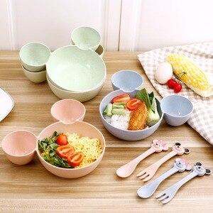 3 Pcs Children Plates  Children Baby Bamboo Tableware Solid Feeding Mickey Dishes Baby Bowl Plate Food Feeding Dinnerware Set