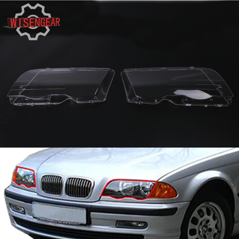 2x Headlight Lens Headlamp Cover For BMW E46 3 Series 318i 320i 323i 325i 330i 1998-2001 Car Front Light Covers P433 pair car front headlamp clear lens headlight plastic shell clear cover for bmw e90 e91 2004 2005 2006 2007