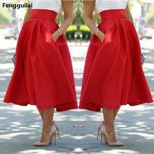 Летний стиль, новинка, женские юбки, Faldas Largas, красные юбки с высокой талией и длиной до икры, модные уличные юбки Falda для отдыха