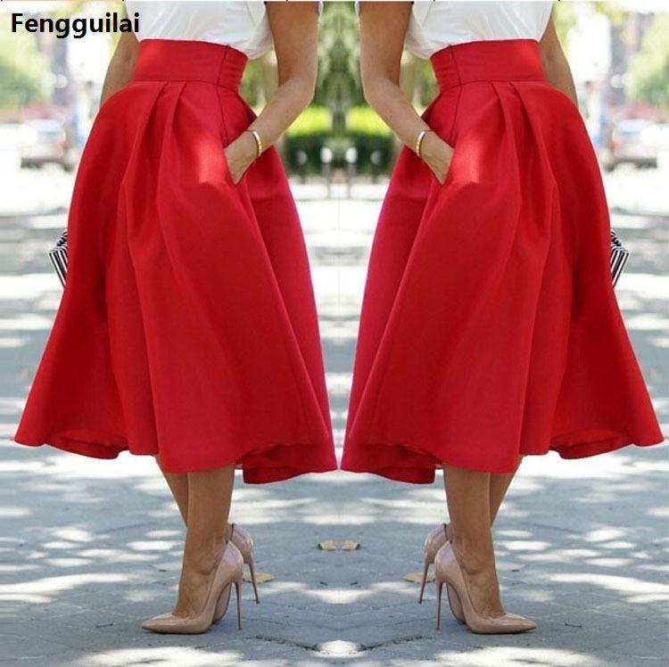 Summer Style  New Skirts Womens ,Faldas Largas ,Red High Waist And Calf Skirts Fashion Street Snap Leisure Falda