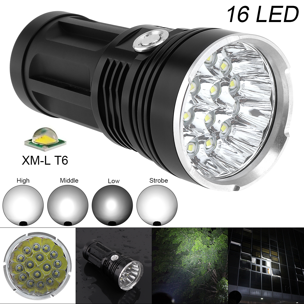 16T6 4800 lumens LED flash light 16*XM-L T6 LED Flashlight Torch Lamp Light For Hunting Camping Use Rechargeable 18650 Battery коммутатор zyxel gs1100 16 gs1100 16 eu0101f